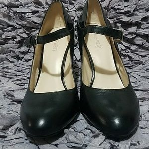 Nine West Shoes - Black Leather & Patent High Heel Mary Janes